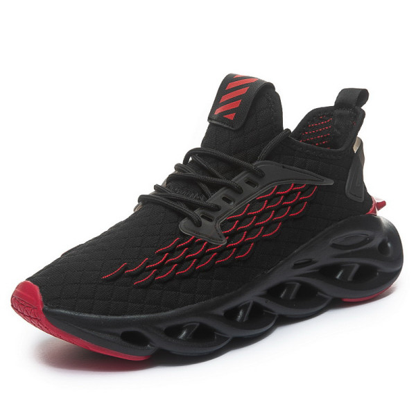 Men's Mesh Athletic Sneakers Sports Running Lace Up Casual Shoes Black Red,41