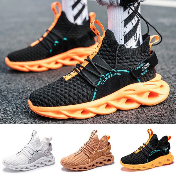 Men's outdoor hiking shoes mesh large size casual shoes White,43