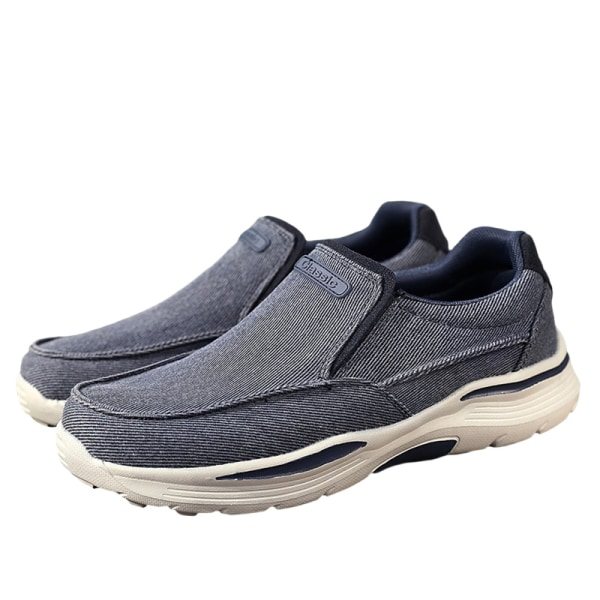 Men's solid color canvas casual shoes outdoor sports shoes Blue,40