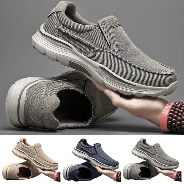 Men's solid color canvas casual shoes outdoor sports shoes Khaki,44