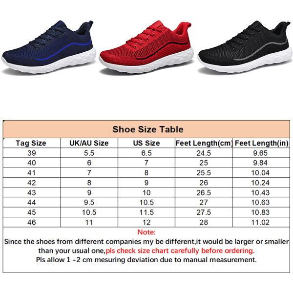 Men's Striped Printed Casual Shoes Fashion Mesh Sneakers Black,39