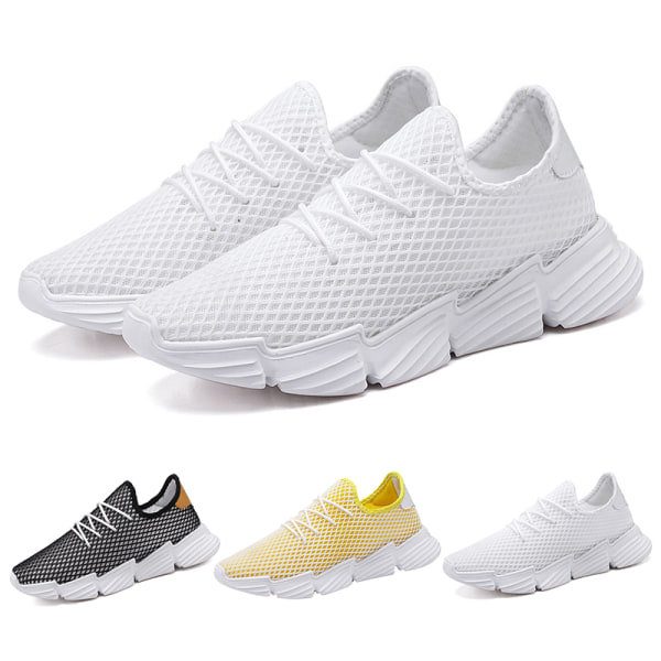Men's Walking Running Trainers Wedge Breathable Casual Shoes White,45