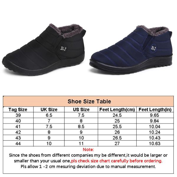 Men warm snow boots waterproof non slip black size 44 Blue,44