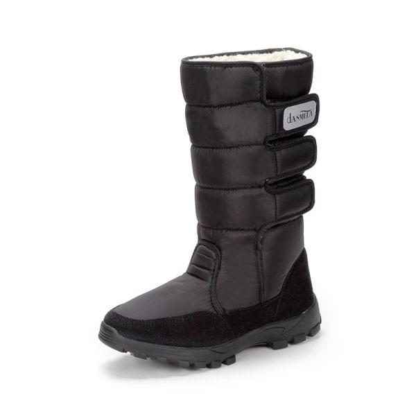 Men Wool Blend Lined Winter Snow Boots Mid Calf Boots Waterproof Black,42