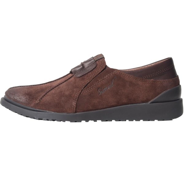 Men's Loafers Flat Sneaker Anti-Skid Leather Round Toe Lace Up Coffee,39