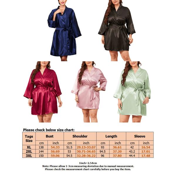Plus Size Women Cardigan Long Gown Nightgowns Sleepwear Pajamas Red,3XL