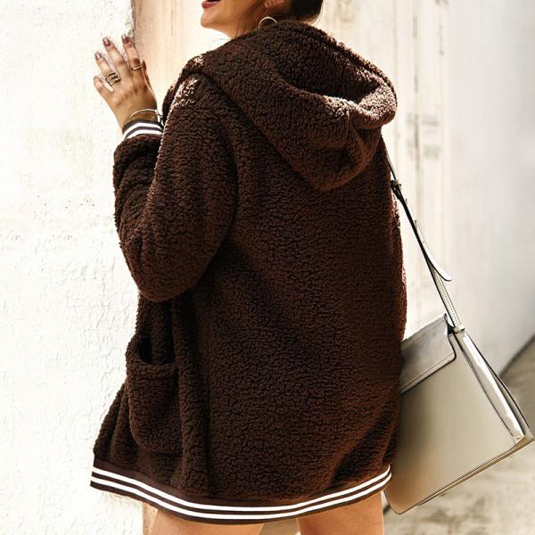 Plus Size Women's Winter Warm Hooded Polar Fleece Jacket brown,XL