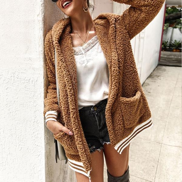 Plus Size Women's Winter Warm Hooded Polar Fleece Jacket Khaki,XL