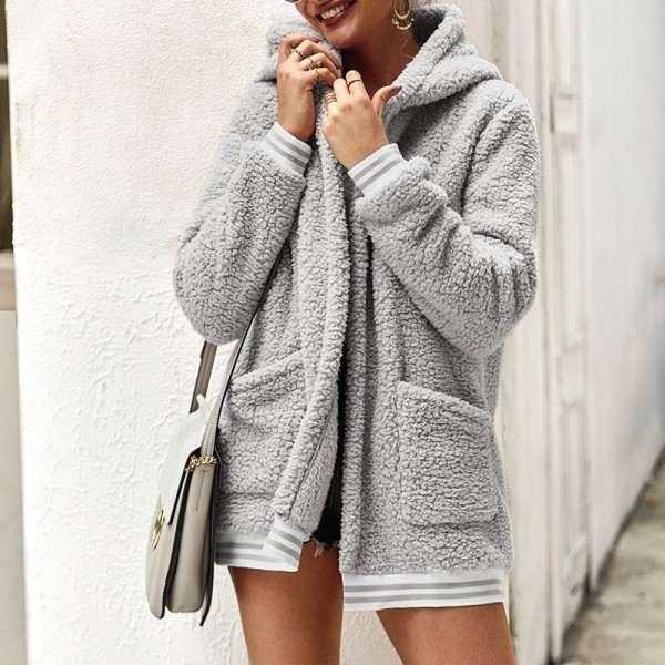 Plus Size Women's Winter Warm Hooded Polar Fleece Jacket light grey,S
