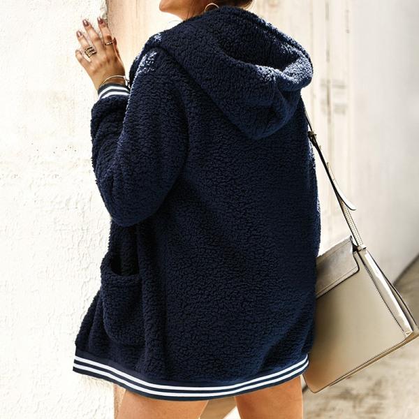 Plus Size Women's Winter Warm Hooded Polar Fleece Jacket Royal blue,M