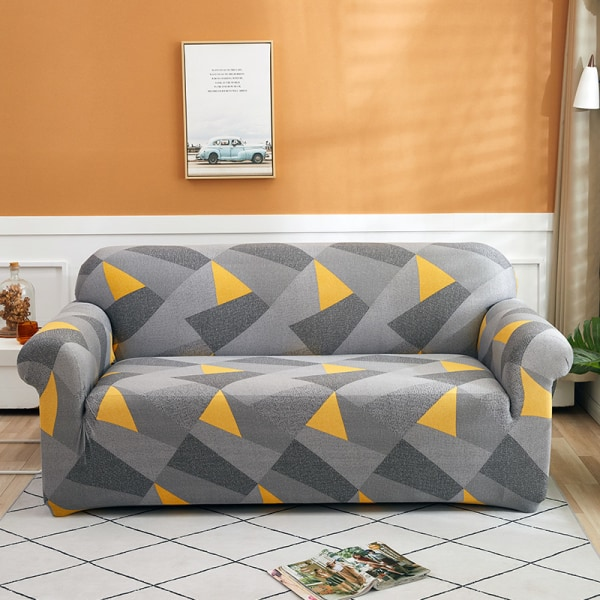 Seat Stretch Printed Sofa Cover Elastic Slipcover Protector Geometric Gray,3 Seater