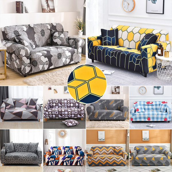 Seat Stretch Printed Sofa Cover Elastic Slipcover Protector Ripple Yellow,3 Seater