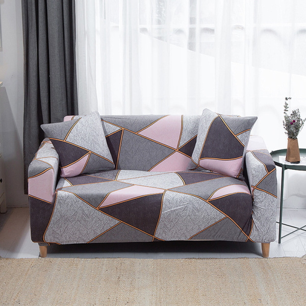 Seat Stretch Printed Sofa Cover Elastic Slipcover Protector Triangle Gray,1 Seater