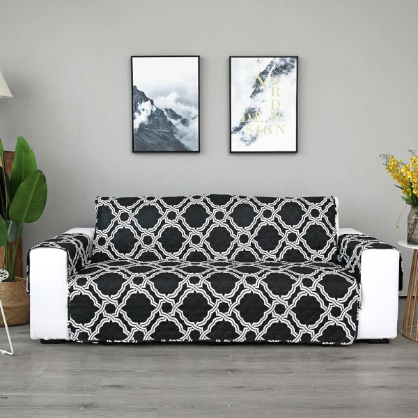 Sofa Covers Quilted Throw Washable Anti Slip Cover Protector Black,3 Seater