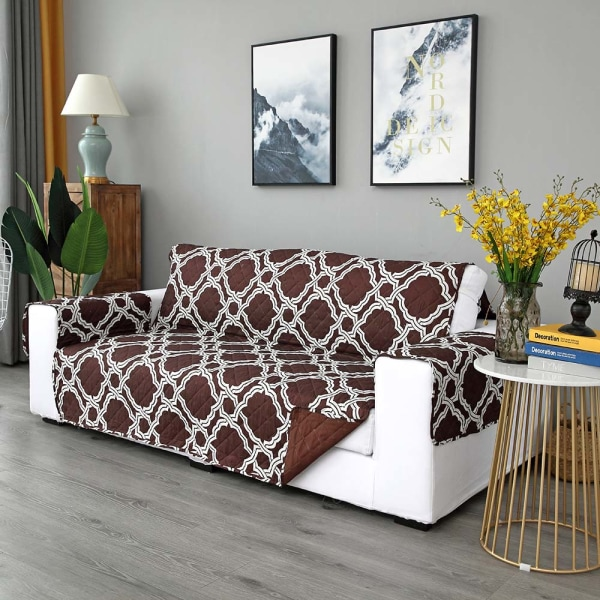 Sofa Covers Quilted Throw Washable Anti Slip Cover Protector Coffee,1 Seater