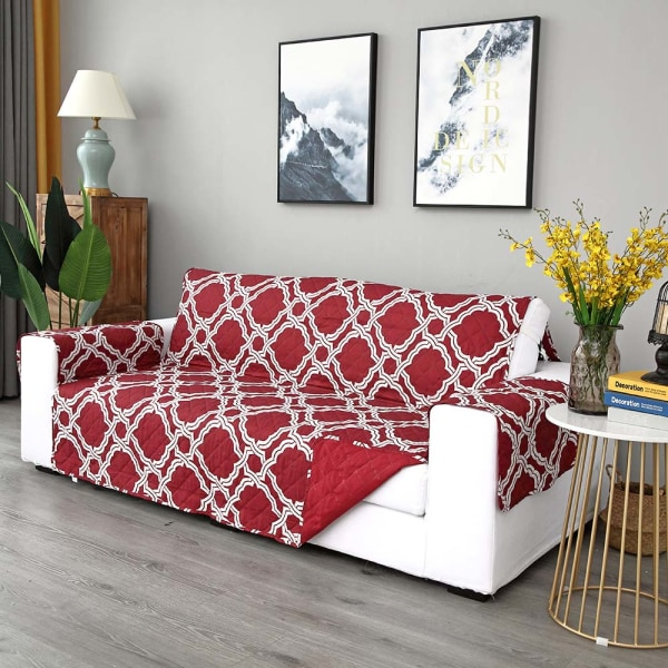 Sofa Covers Quilted Throw Washable Anti Slip Cover Protector Red,2 Seater