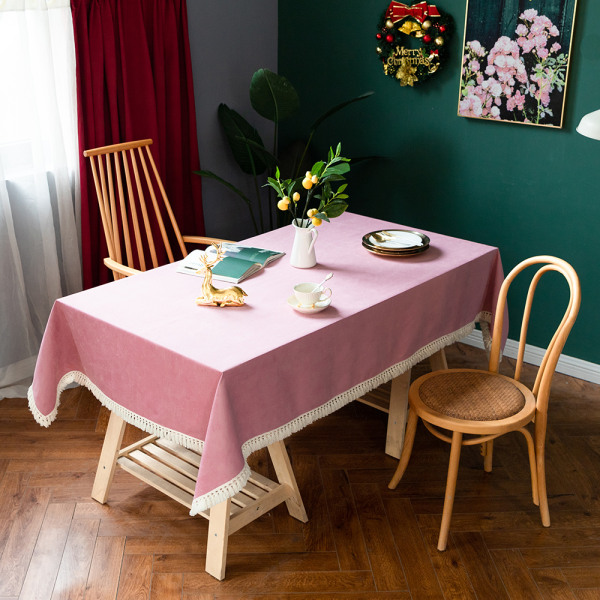 Tablecloth Cotton Linen Square Rectangle Dining Table Cover Pink 90x140cm