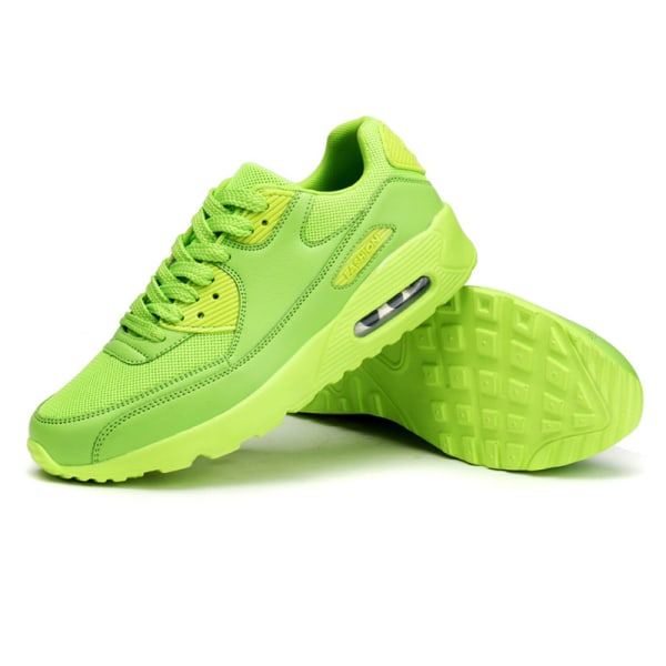 Unisex casual trend air cushion loafers lace up sneakers Green Mesh Cloth,44