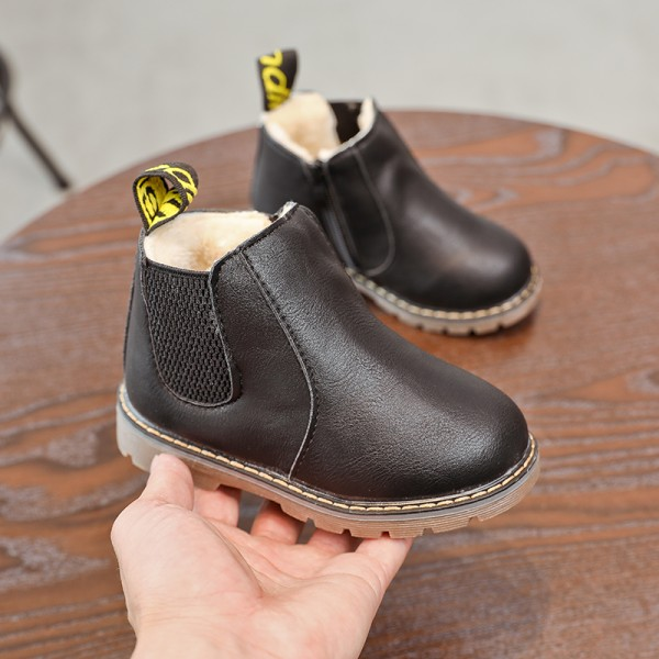 Unisex children fashion plus cashmere Martin boots to keep warm Black plus cotton,34