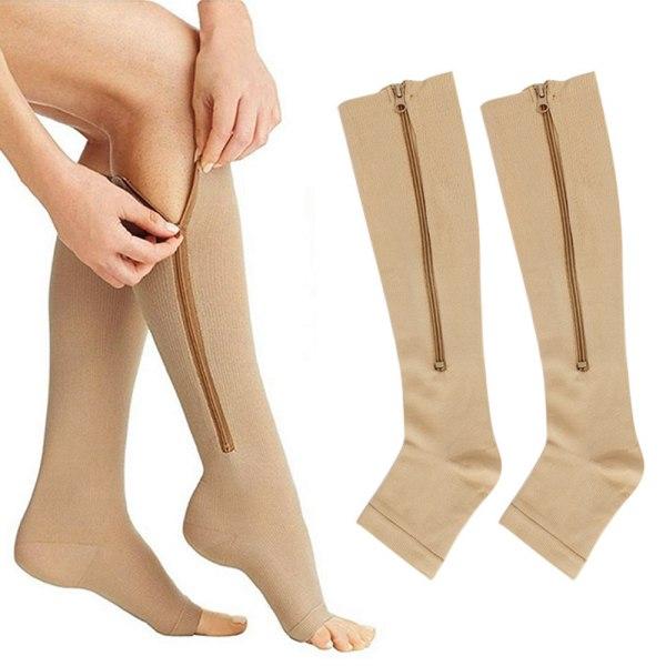 Unisex Compression Socks Nursing Travel Sports Stockings Zipper Gray L / XL