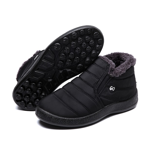 Unisex Waterproof Winter Snow Ankle Boots Fur-lined Slip On Black,42