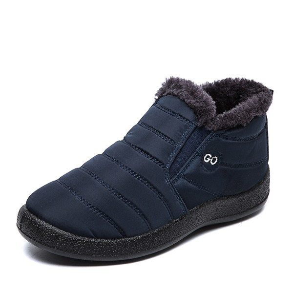 Unisex Waterproof Winter Snow Ankle Boots Fur-lined Slip On Blue,43
