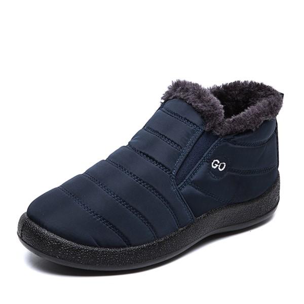 Unisex Waterproof Winter Snow Ankle Boots Fur-lined Slip On Blue,47
