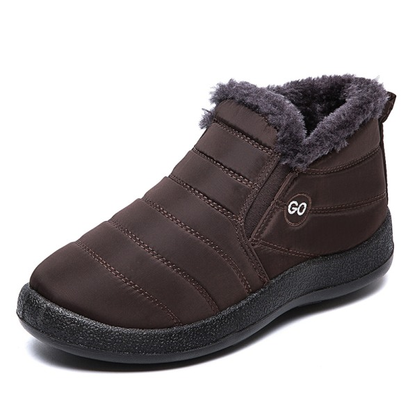 Unisex Waterproof Winter Snow Ankle Boots Fur-lined Slip On Brown,.46