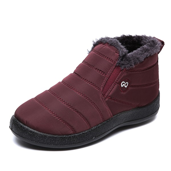 Unisex Waterproof Winter Snow Ankle Boots Fur-lined Slip On Red,42