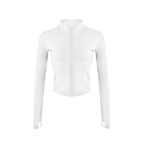 Woman exercise yoga crop top long gym running workout white,M