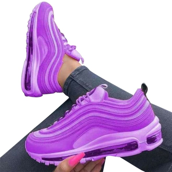 Women Air Cushion Sneakers Athletic Sport Running Lace Up Shoes Purple,38