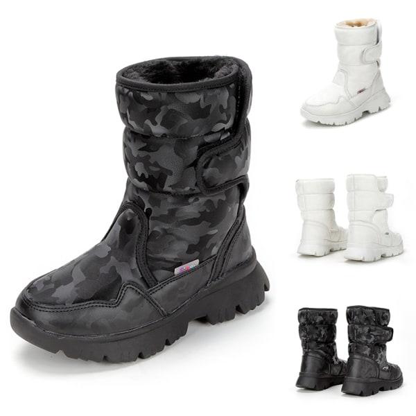 Women And Kids Plush Lined Winter Snow Mid Calf Platform Booties Black,33