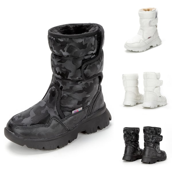 Women And Kids Plush Lined Winter Snow Mid Calf Platform Booties Black,37