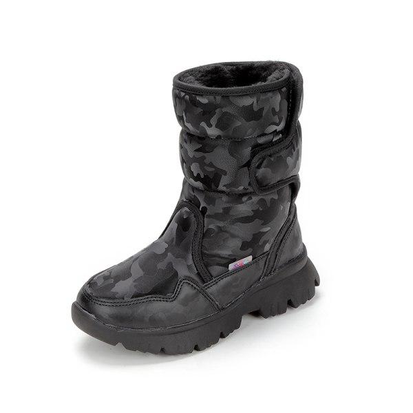 Women And Kids Plush Lined Winter Snow Mid Calf Platform Booties Black,39