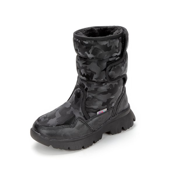 Women And Kids Plush Lined Winter Snow Mid Calf Platform Booties Black,40