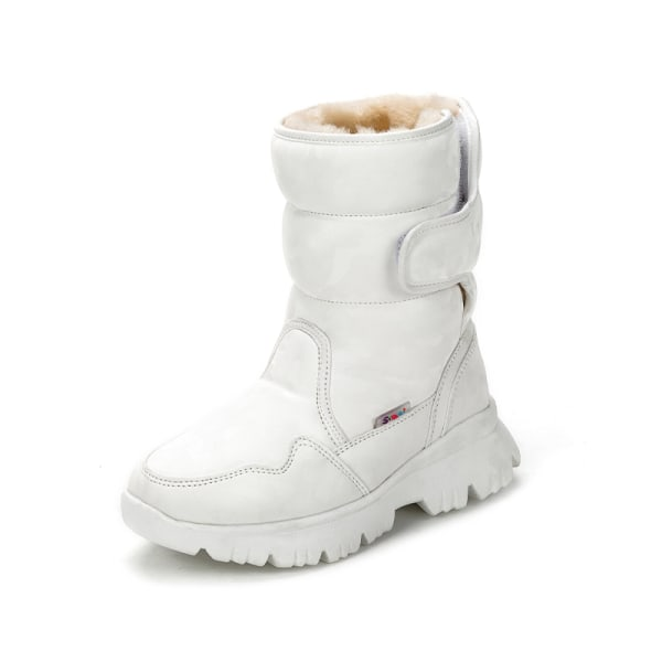 Women And Kids Plush Lined Winter Snow Mid Calf Platform Booties White,39