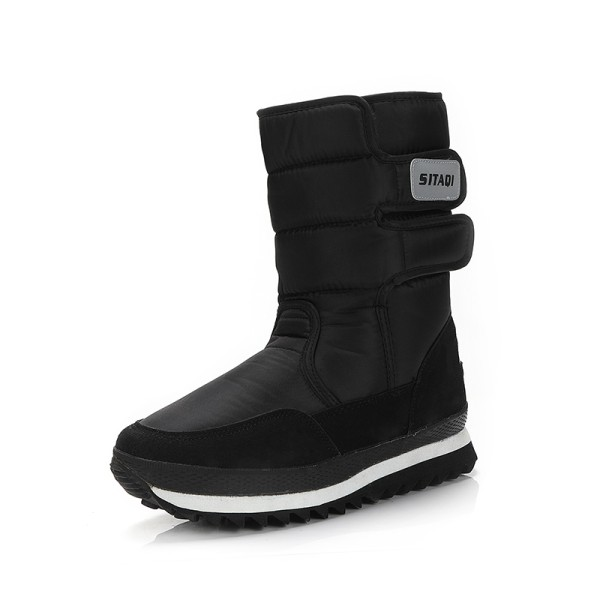 Women and Men Waterproof Plush Lined Winter Snow Casual Booties Black,42
