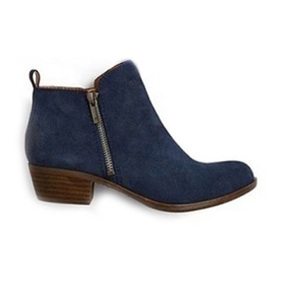 Women Ankle Boot Thick High-Heeled Boot Casual Shoes Spring Fall Blue,35