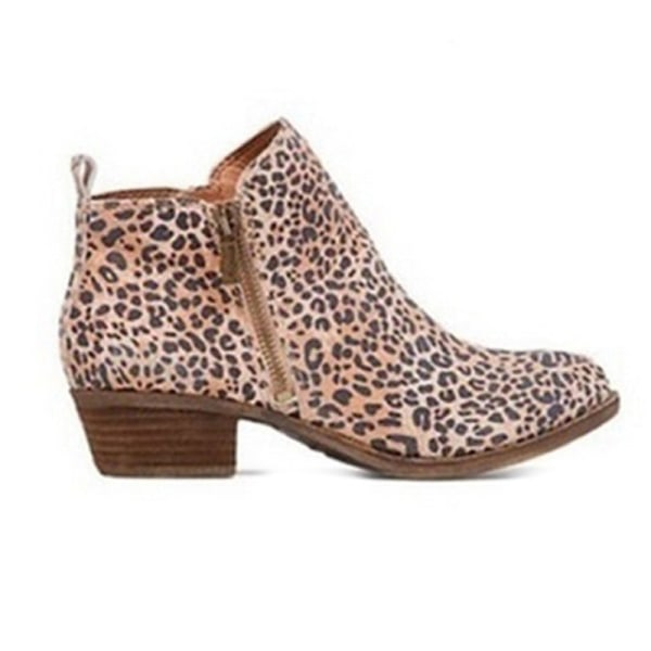 Women Ankle Boot Thick High-Heeled Boot Casual Shoes Spring Fall Leopard Print,40