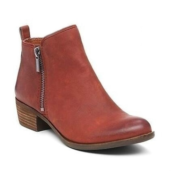 Women Ankle Boot Thick High-Heeled Boot Casual Shoes Spring Fall Reddish Brown PU,36