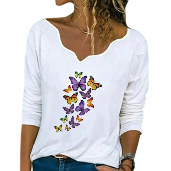 Women Casual Loose V-neck Printed Long Sleeve T-Shirt Top White butterfly,3XL