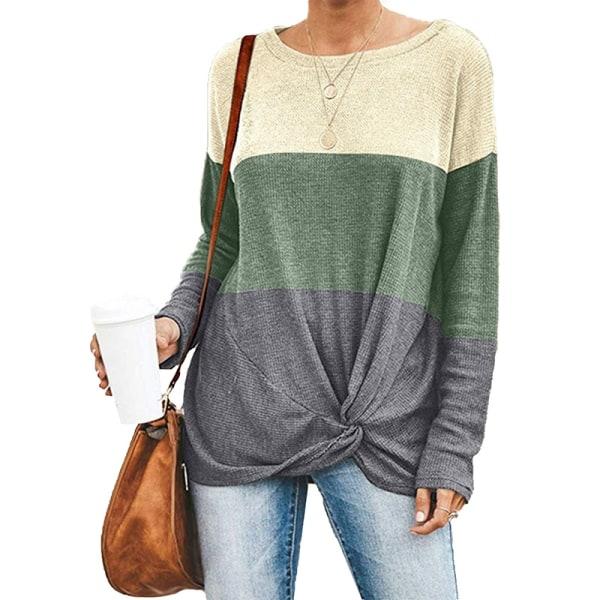 Women casual round neck long-sleeved shirt T-shirt top Green,XL