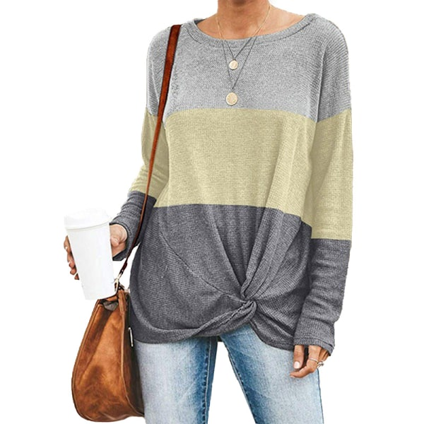 Women casual round neck long-sleeved shirt T-shirt top light yellow,M