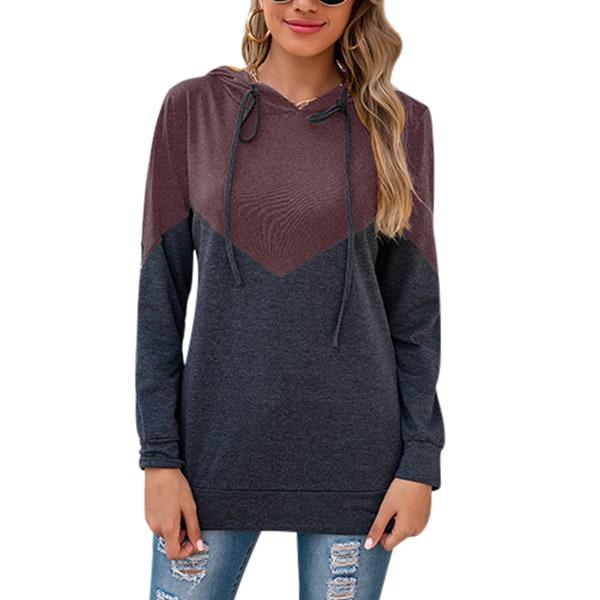 Women casual stitching hooded cardigan jacket long sleeve shirt Purple,S