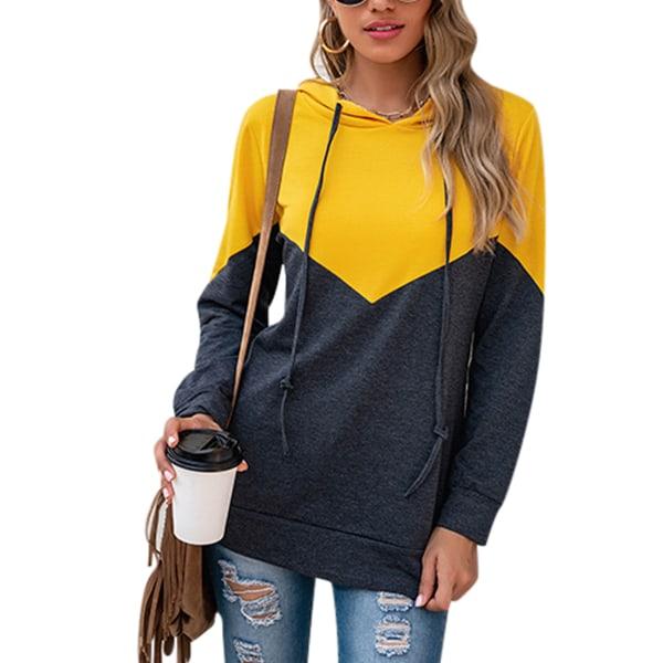 Women casual stitching hooded cardigan jacket long sleeve shirt Yellow,S