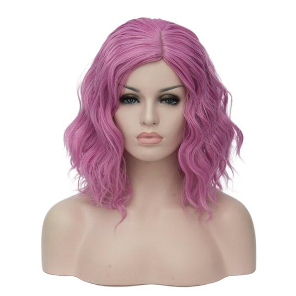 Women Cosplay Wig Cute Heat Resistant Wavy Hair Pink Purple
