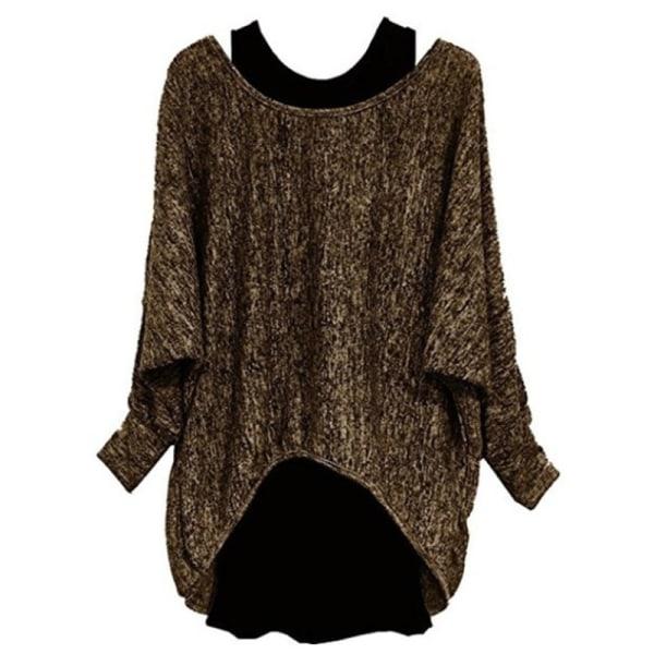 Women Fashion Two-piece Long Sleeve T-Shirt Top Ladies Suit brown,4XL