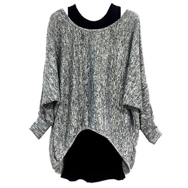 Women Fashion Two-piece Long Sleeve T-Shirt Top Ladies Suit Gray,3XL