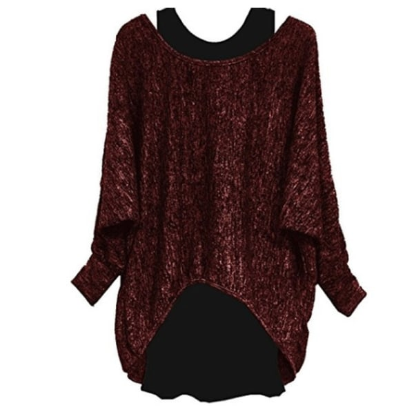 Women Fashion Two-piece Long Sleeve T-Shirt Top Ladies Suit red wine,XL