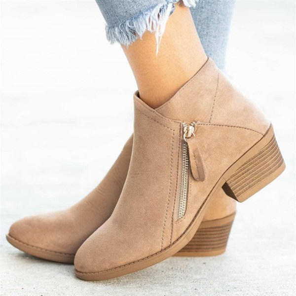 Women Fashion Warm Snow Ankle Boot Pointed Toe Shoes Side Zipper Beige,42